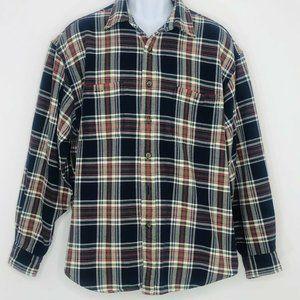 Vtg Eddie Bauer Plaid Flannel Shirt Button Up XL